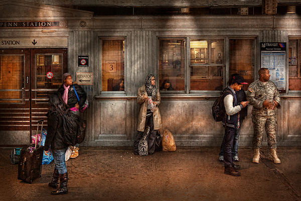 Train - Station - Waiting For The Next Train Print by Mike Savad