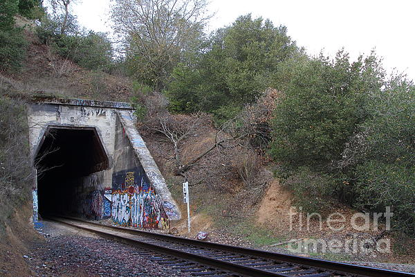 Train Tunnel At The Muir Trestle In Martinez California . 7d10229 Print by Wingsdomain Art and Photography