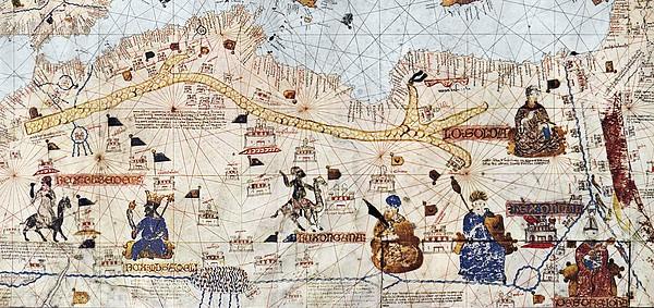 Trans-saharan Caravan Routes 1413 Print by Sheila Terry