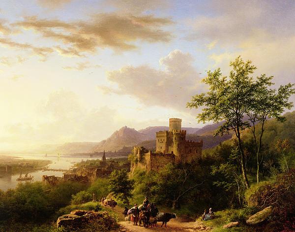 Travellers On A Path In An Extensive Rhineland Landscape Print by Barend Cornelis Koekkoek