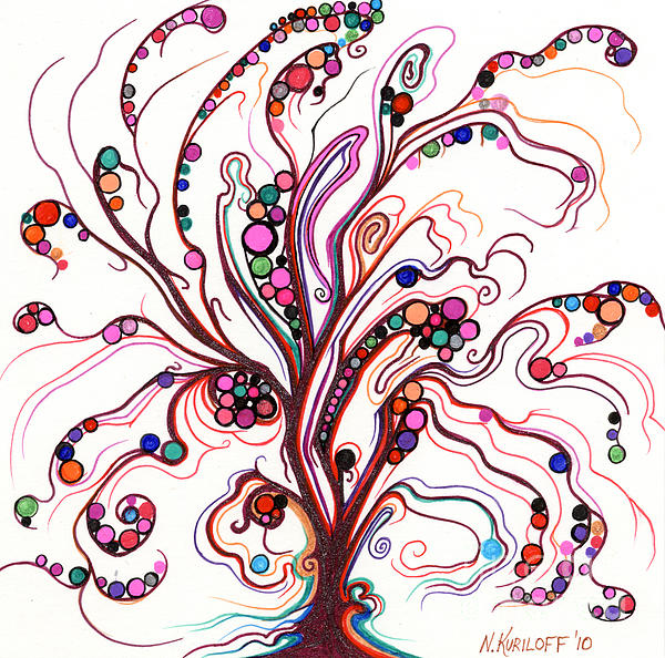 Tree Growth In Dots Drawing  - Tree Growth In Dots Fine Art Print