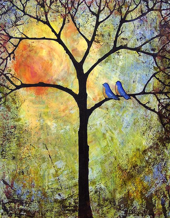 Tree Painting Art - Sunshine Print by Blenda Studio