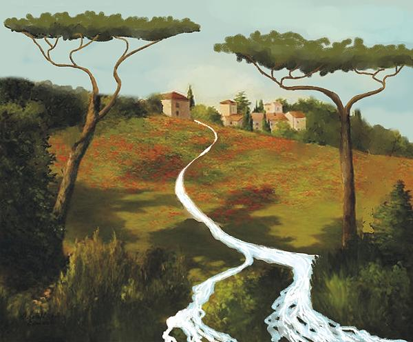 Trees Of Tuscany Print by Larry Cirigliano
