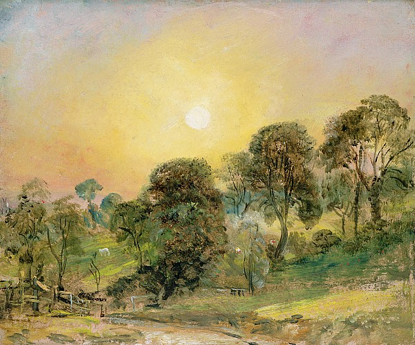Trees On Hampstead Heath At Sunset Print by John Constable