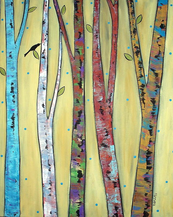 Trees On Yellow Print by Karla Gerard