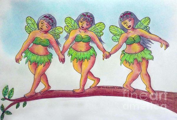 Trio Fairies Drawing