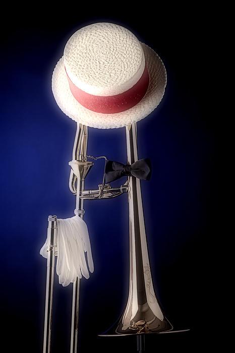 Trombone Hat Bow Tie Print by M K  Miller