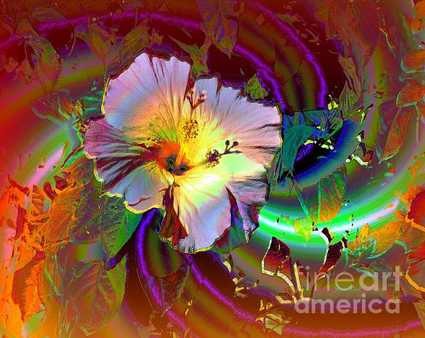 Tropical Hibiscus Explosion Print by Doris Wood