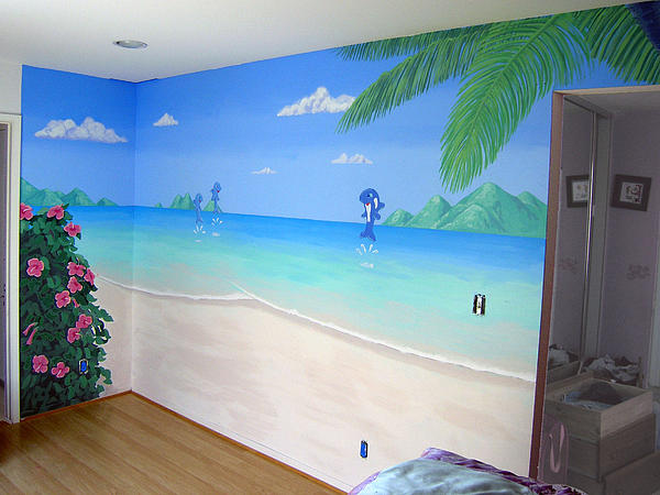Tropical landscape beach mural by tim cornelius for Beach mural painting
