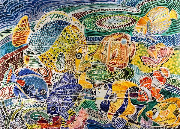 Tropical Splendor Batik Print by Marcia Baldwin