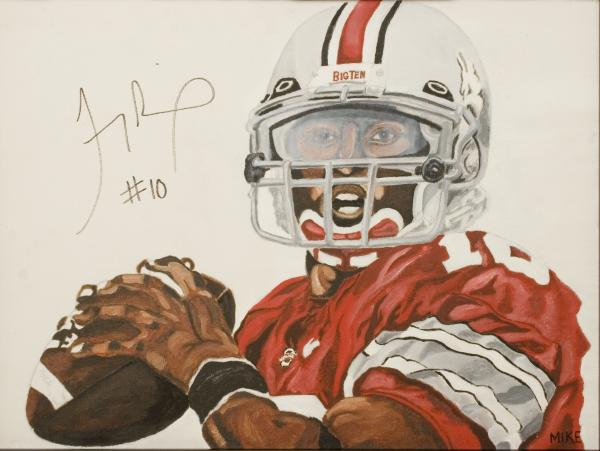 Troy Smith HEISMAN TROPHY WINNER Painting by Michael Fields - Troy ...