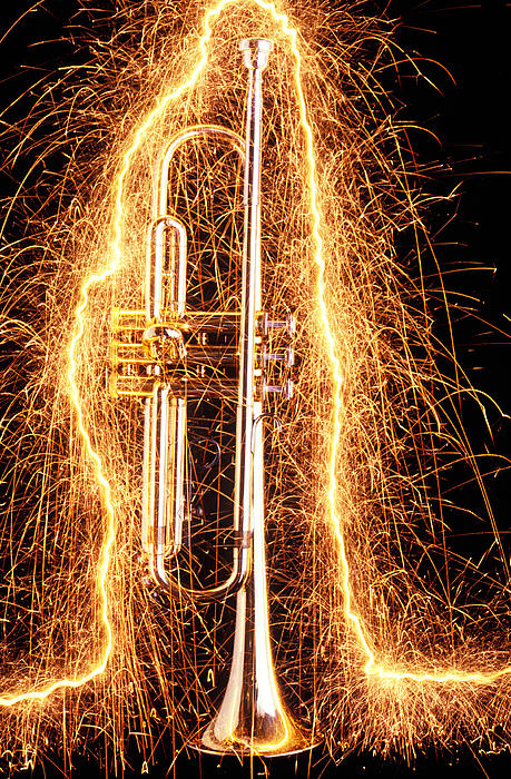 Trumpet Outlined With Sparks Print by Garry Gay