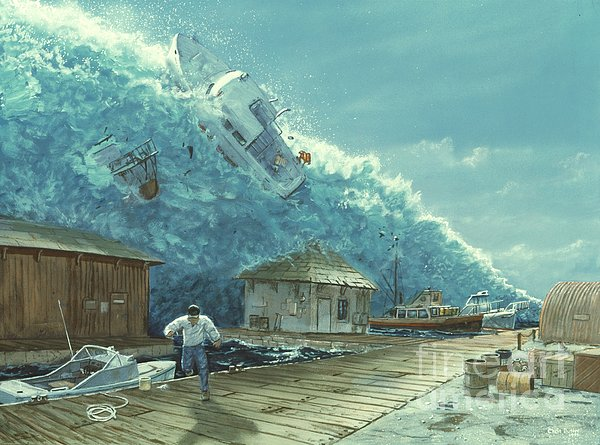 Tsunami Print by Chris Butler and Photo Researchers