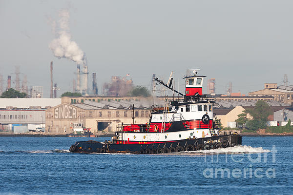 Tugboat Captain D In Newark Bay I Print by Clarence Holmes