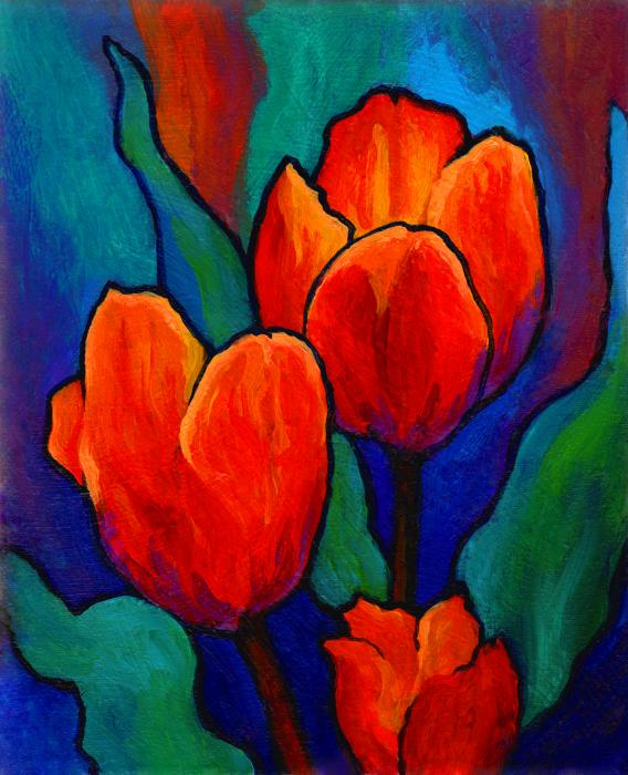 Tulip Trio Print by Marion Rose