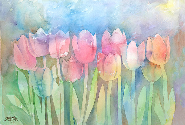 Tulips In A Row Print by Arline Wagner