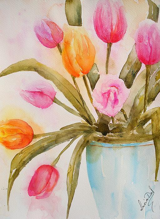 Lucia Del - Tulips In Blue Vase