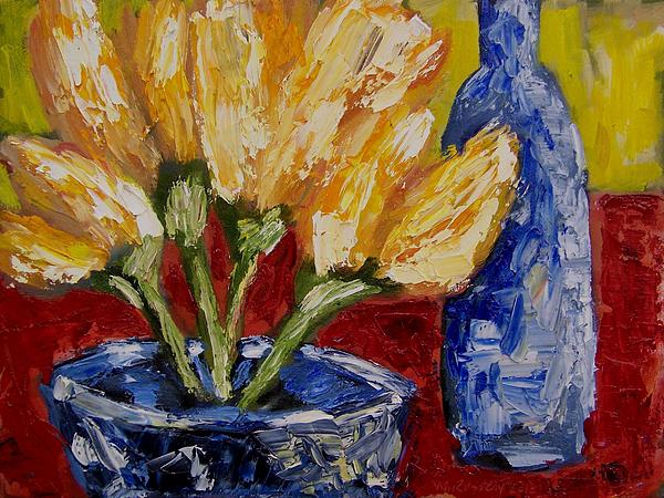 Tulips With Blue Bottle Painting  - Tulips With Blue Bottle Fine Art Print