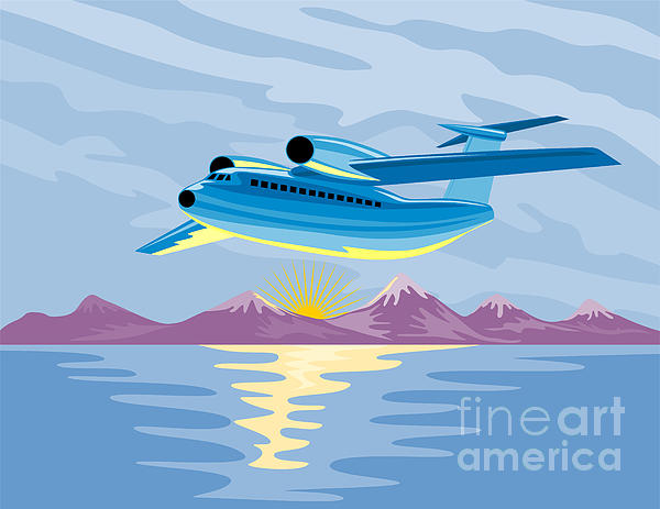 Turbo Jet Plane Retro Print by Aloysius Patrimonio