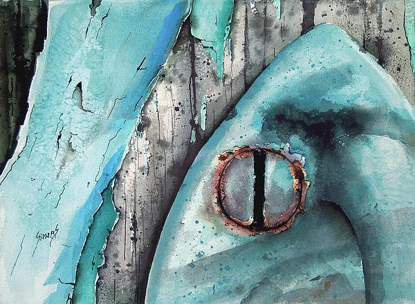Turquoise Paint Print by Sam Sidders