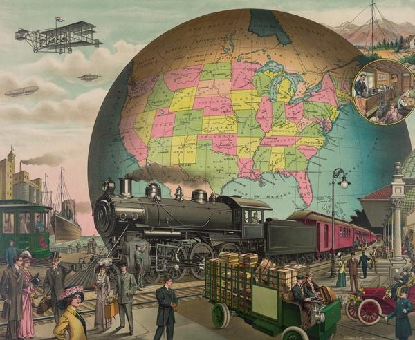 Twentieth Century Transportation. 1910 Print by Everett