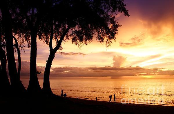 Twilight At Maikao Beach Phuket  Print by Anusorn Phuengprasert nachol
