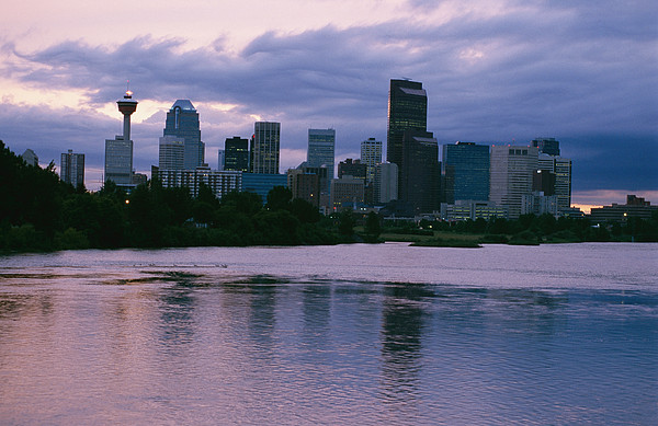 Twilight On The Bow River And Calgary Print by Michael S. Lewis