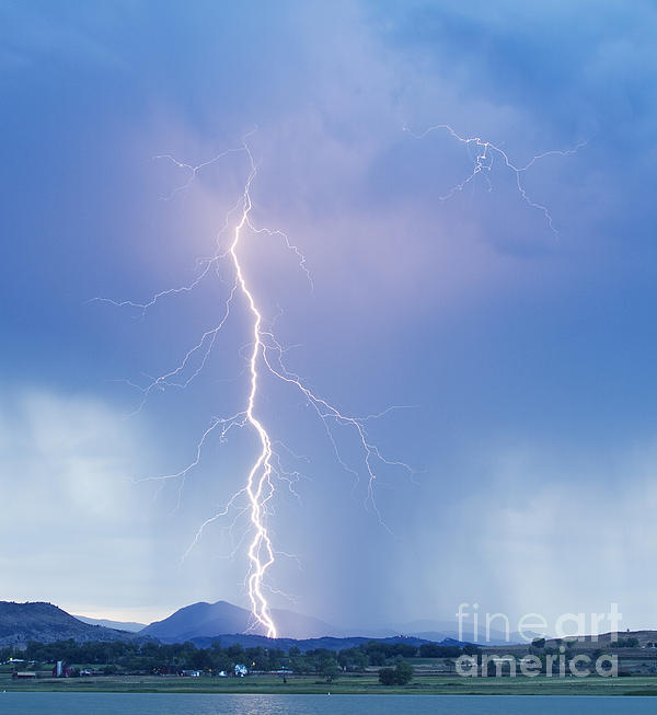 Twisted Lightning Strike Colorado Rocky Mountains Print by James BO  Insogna