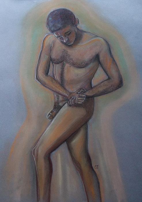 Twisting Male Figure Print by Cj
