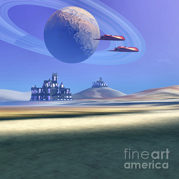 Two Aircraft Guard This Alien Planet Print by Corey Ford