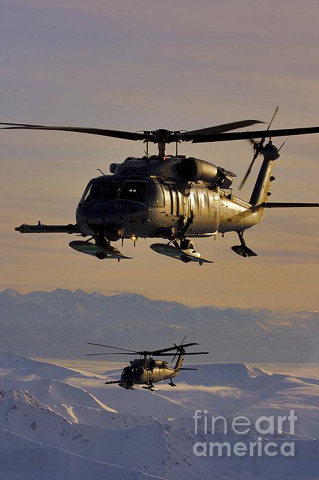 Two Alaska Air National Guard Hh-60g Print by Stocktrek Images