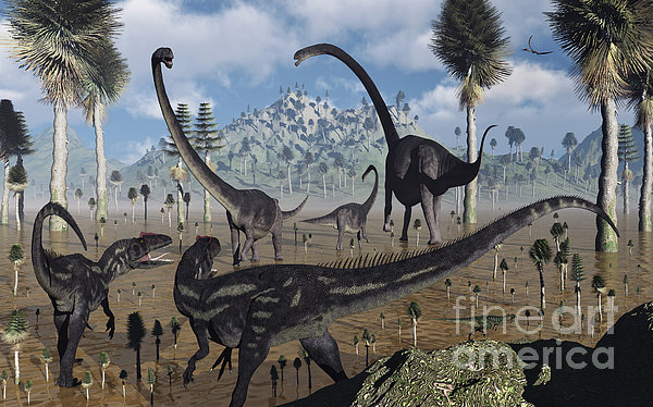 Two Allosaurus Predators Plan Print by Mark Stevenson