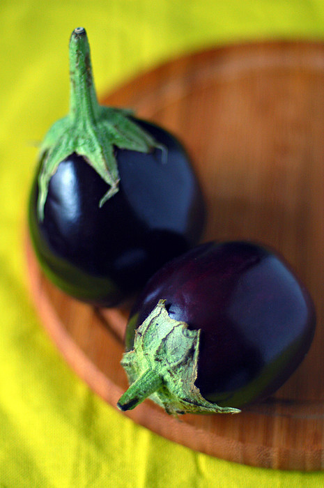 Two Baby Aubergines (eggplants) Print by Photo by Ira Heuvelman-Dobrolyubova