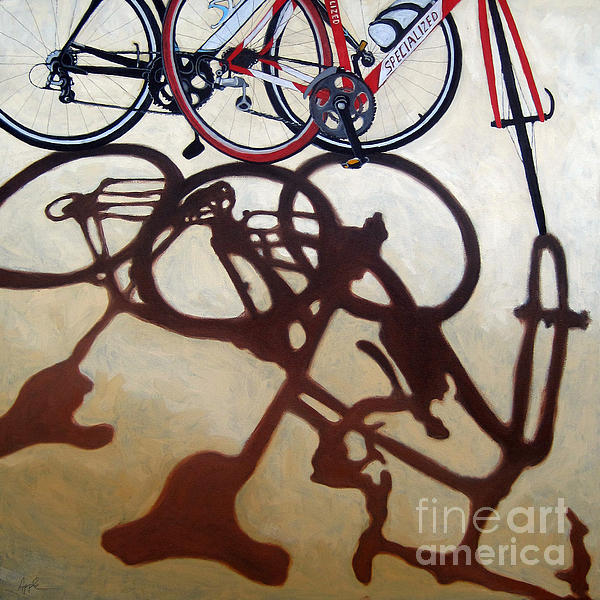 Two Bicycles Print by Linda Apple
