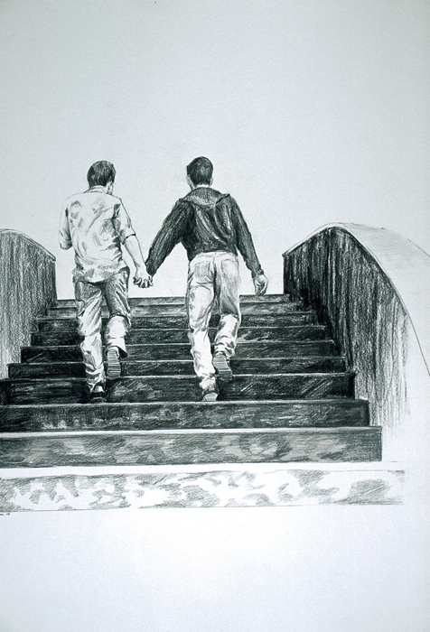 Two Boys Print by Rene Capone