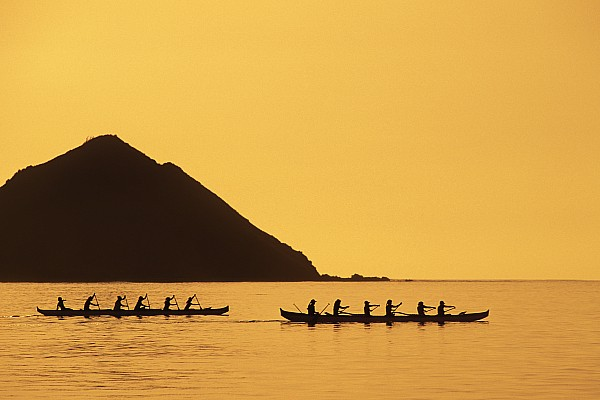 Two Canoes Silhouetted Print by Dana Edmunds - Printscapes