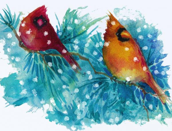 Two Cardinals Print by Peggy Wilson