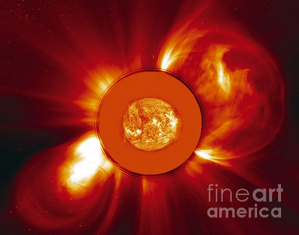 Two Coronal Mass Ejections Print by Solar & Heliospheric Observatory consortium (ESA & NASA)