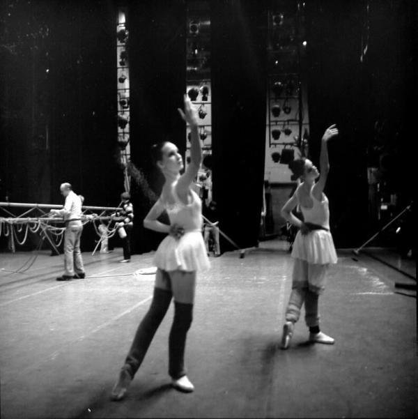 Two Dancers Backstage Nyc Ballet Company Painting 