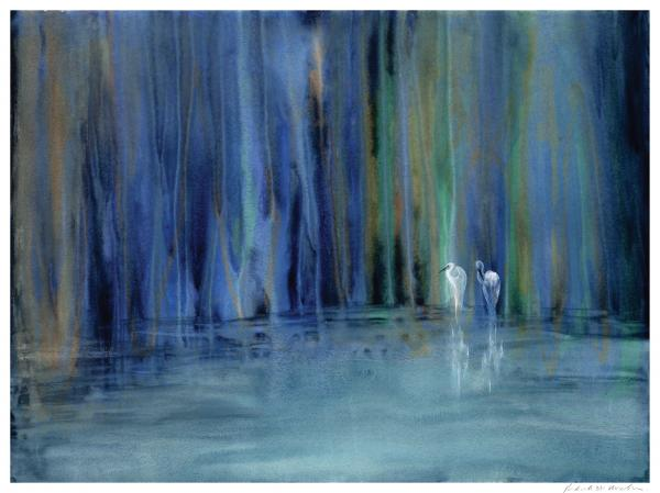 Two Egrets Painting  - Two Egrets Fine Art Print