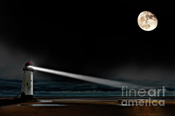 Two Guiding Lights Print by Meirion Matthias