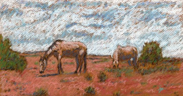 Two Mustangs Print by Suzie Majikol-Maier