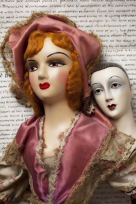 Two Old Dolls Print by Garry Gay