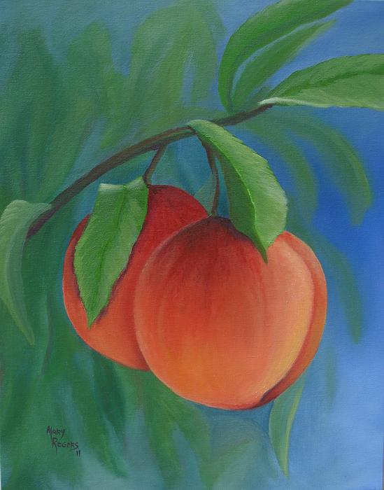 Two Peaches Print by Mary Rogers