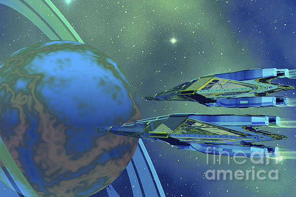 Two Spacecraft Fly To Their Home Planet Print by Corey Ford