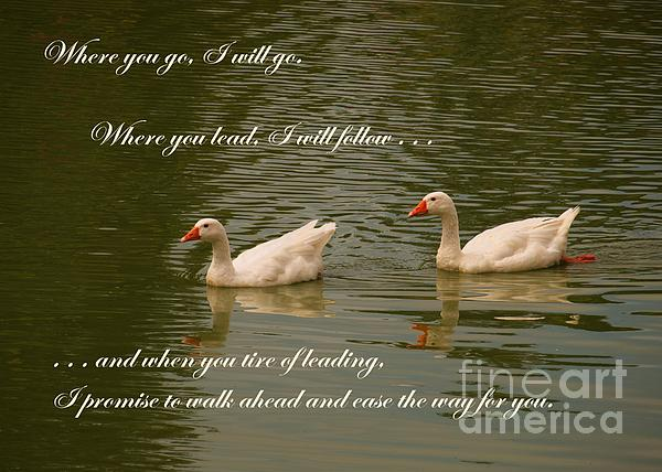 Two Swans - Marriage Vows Print by Yali Shi