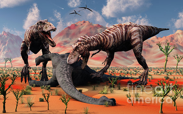 Two T. Rex Dinosaurs Feed Print by Mark Stevenson