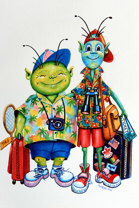 Two Tourists True Print by Hanne Lore Koehler