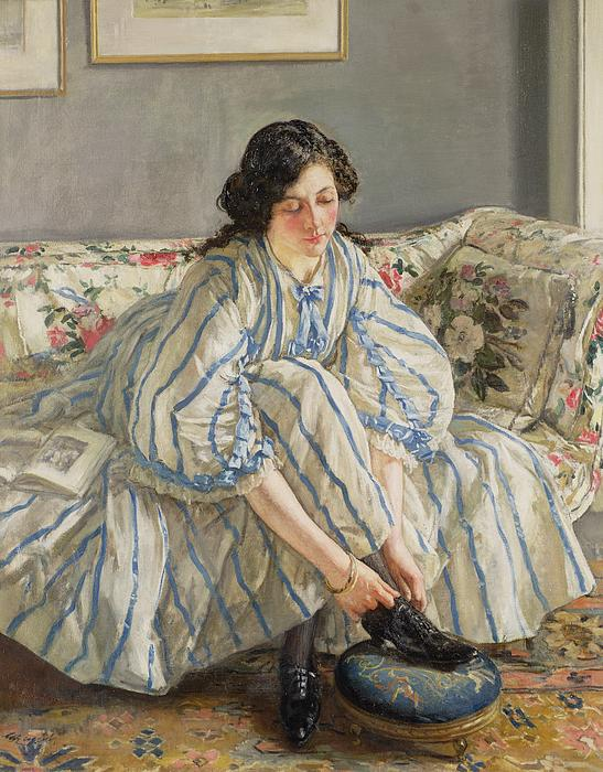 Tying Her Shoe Print by Sir Walter Russell