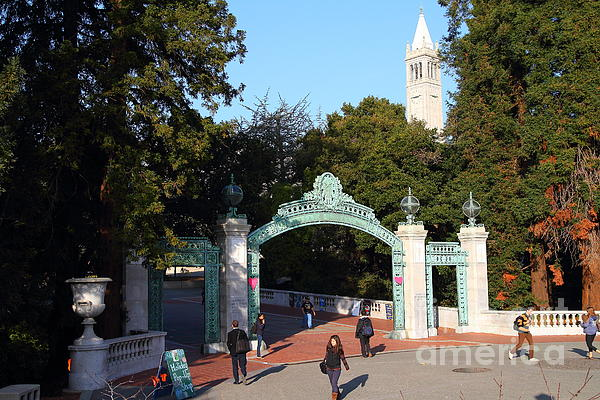 Uc Berkeley . Sproul Plaza . Sather Gate And Sather Tower Campanile . 7d10025 Print by Wingsdomain Art and Photography